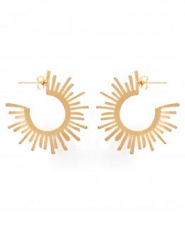 Boucles d'oreilles créoles soleil plaqué or -  Atelier bijoux Madame Vedette
