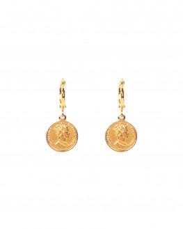 Boucles d'oreilles médaille queen plaqué or - Atelier bijoux Madame Vedette
