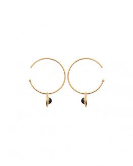 Boucles d'oreilles créoles originales pierre noire - Bijoux Madame Vedette