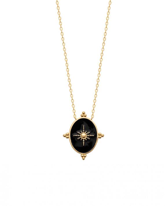 Collier chaine plaqué or médaille email noire - Bijoux tendances Madame Vedette