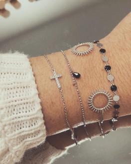 Composition bracelets argent brillants zircon - Bijoux Madame Vedette