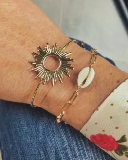 Création bracelets plaqué or et coquillage - Atelier bijoux Madame Vedette