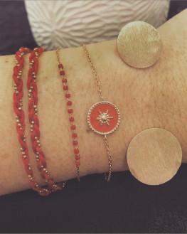 Composition bracelets plaqué or email couleur - Atelier bijoux Madame Vedette