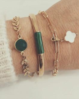 Composition bracelet jonc plaqué or pierre couleur - Atelier création Madame Vedette