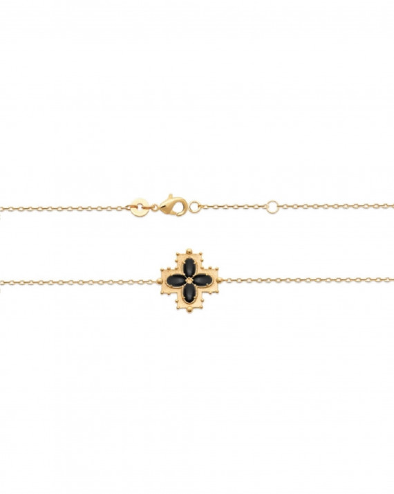 Bracelet plaqué or tendance 2021 pierres d'agate serties - Atelier bijoux Madame Vedette