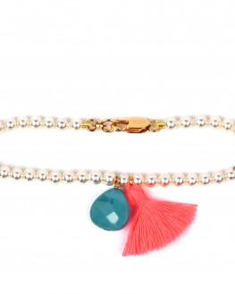 Bracelet perles création pampilles pompon pour femme - Atelier Madame Vedette