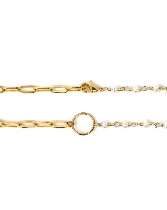 Bracelet chaine duo plaqué or - Atelier bijoux Madame Vedette