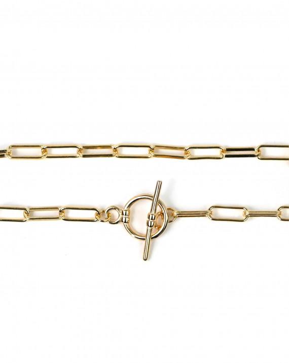 Bracelet maille large fermoir toogle - Atelier bijoux Madame Vedette