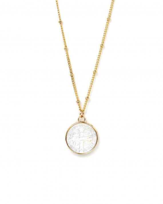 Collier chaine boules pendentif médaillon nacre - Atelier bijoux Madame Vedette