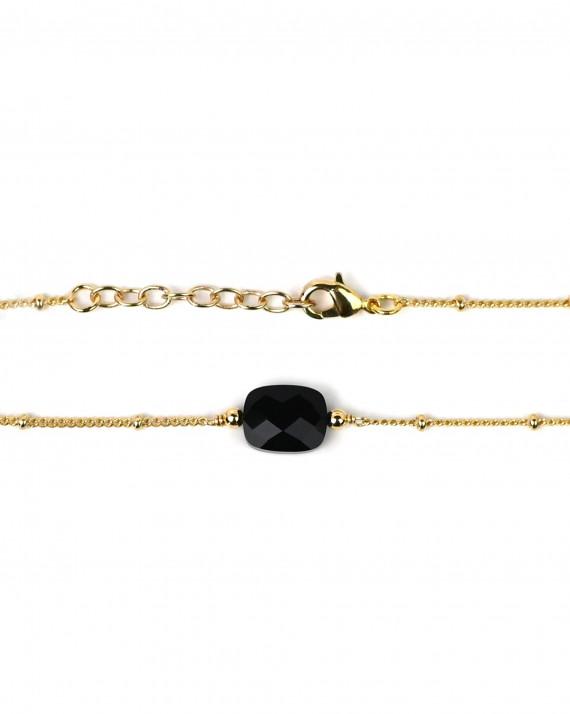 Bracelet fin plaqué or pierre onyx noire - Atelier bijoux Madame Vedette
