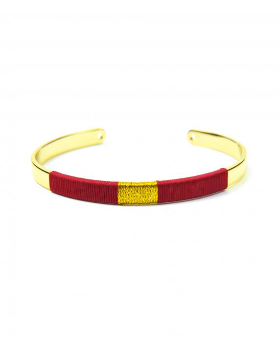 Bracelet jonc ouvert plaqué or fils rouge et doré création tendance femme - Madame Vedette