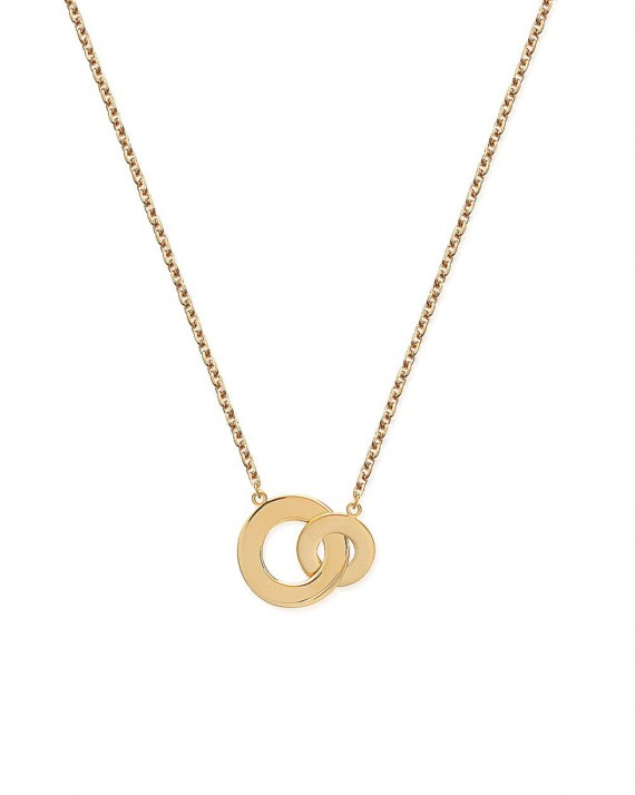 Collier chaîne anneaux larges entrelacés en plaqué or - Création bijoux femme tendance