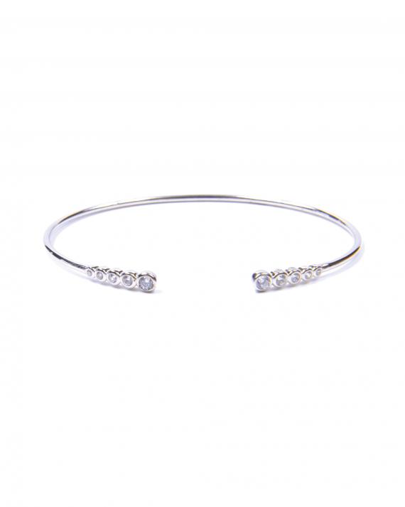 Bracelet femme jonc ouvert en argent 925 et brillants - Tendance bijoux créateur - Madame Vedette