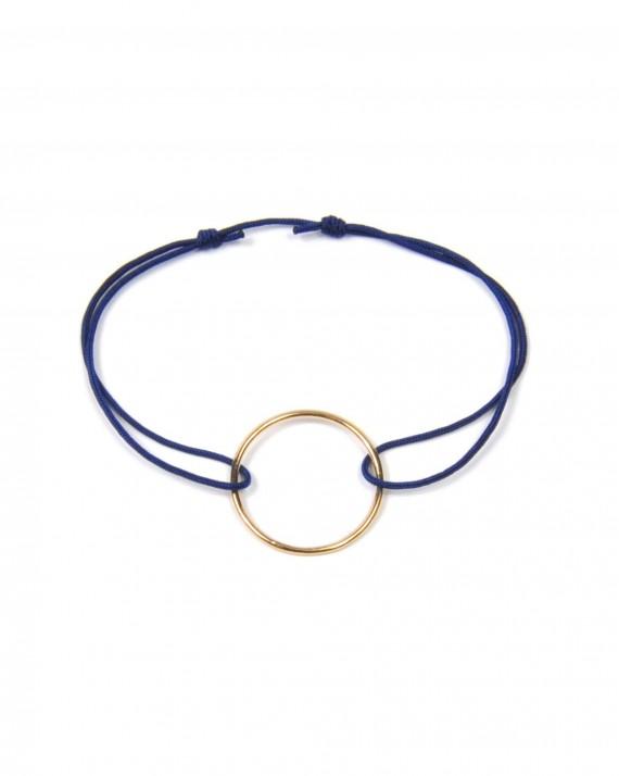Bracelet cordon couleur et anneau or rose - Création tendance Madame Vedette
