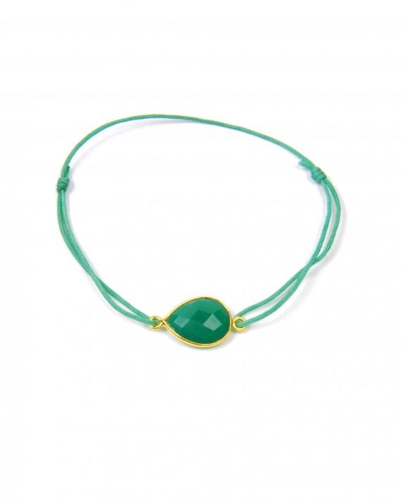 Bracelet cordon goutte pierre semi-précieuse monture plaqué or - Bijoux de créateur - Madame Vedette