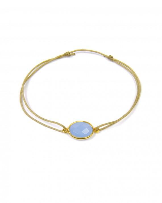 Bracelet cordon pierre ovale semi précieuse monture plaqué or tendance femme par Madame Veddette