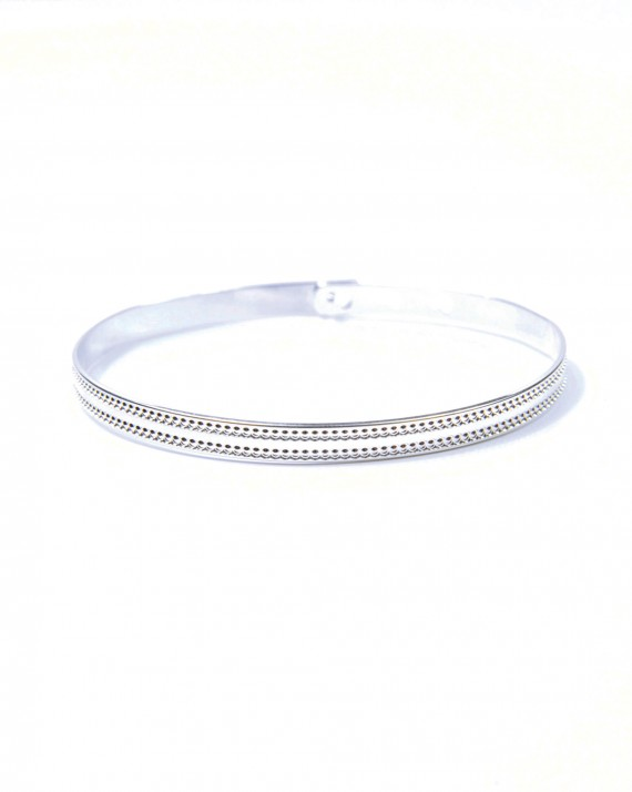 Bracelet jonc cadenas pour femme argent 925 double ligne pointillés - Madame Vedette