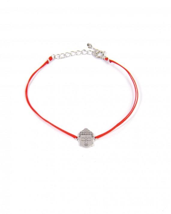 Bracelet cordon ajustable tête de bouddha en argent 925 pour femme - Créatrice tendance Madame Vedette