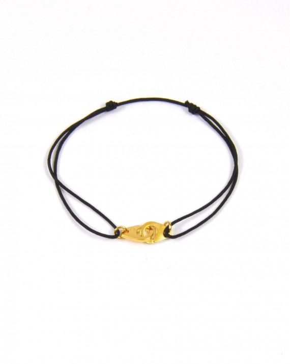 Bracelet cordon ajustable menottes plaqué or femme - Madame Vedette créatrice bijoux