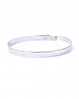 Bracelet jonc cadenas argent 925 martelé femme - Bijoux créateurs x Madame Vedette