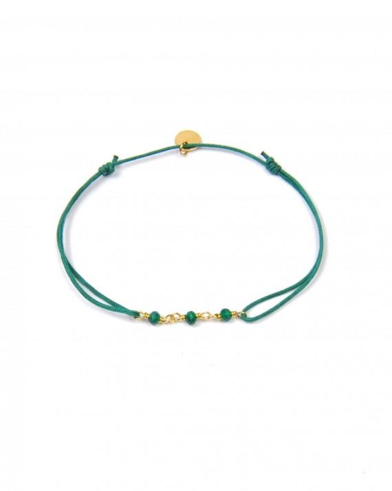 Bracelet cordon ajustable chaînette plaqué or perles couleur pour femme - Créatrice tendance - Madame Vedette