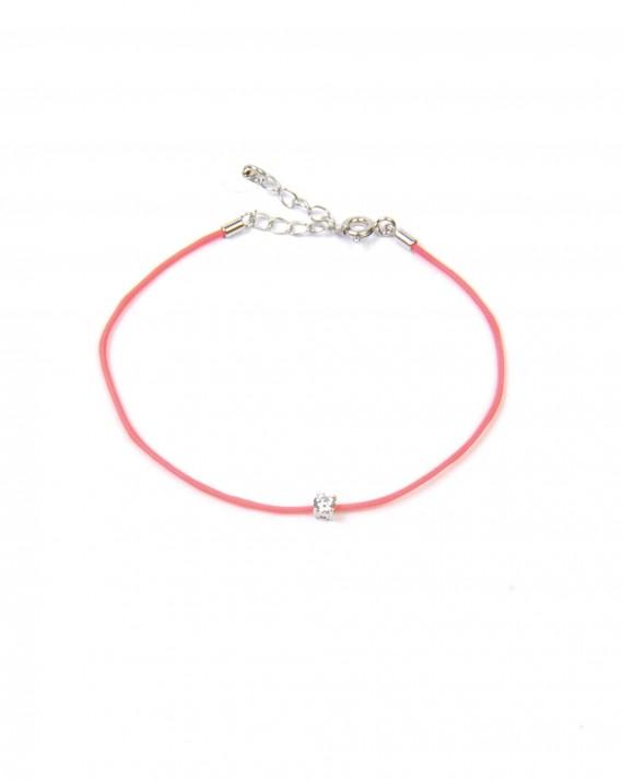 Bracelet cordon chaînette argent 925 et brillant zircon  - Créatrice bijoux tendance - Madame Vedette
