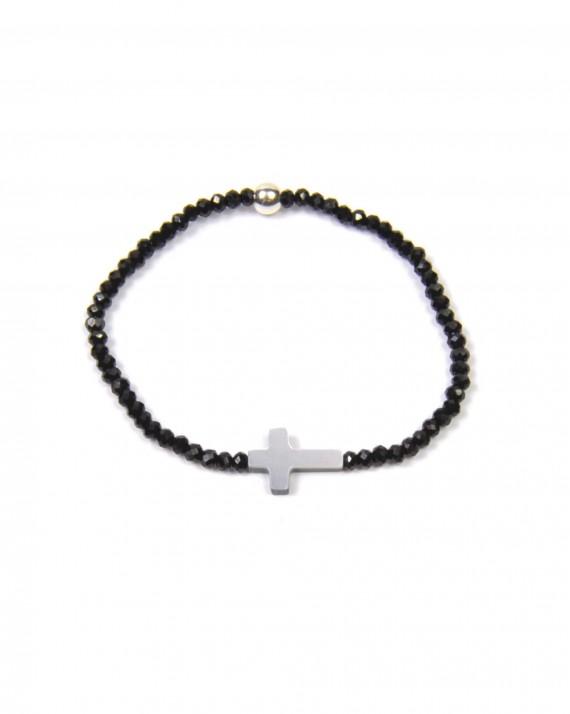 Bracelet perles croix nacre - création bijoux faits main Madame Vedette