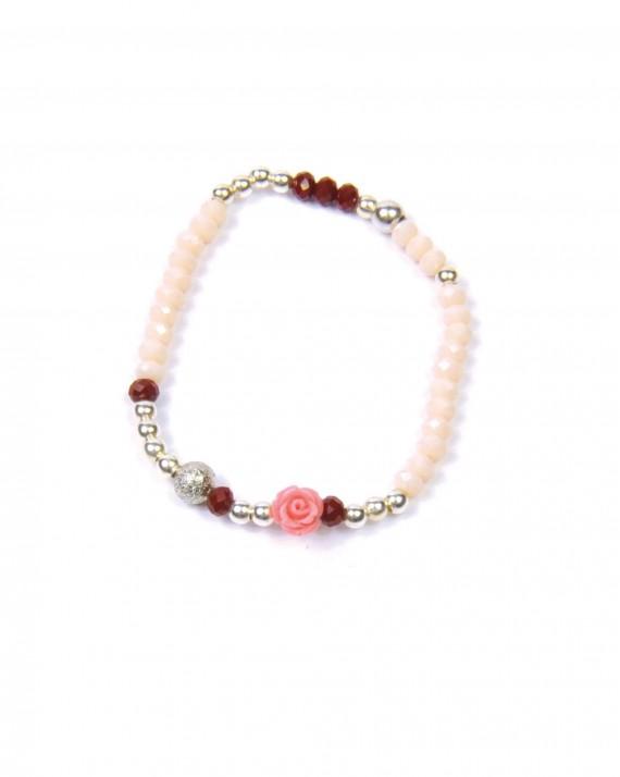 Bracelet perles et petite rose - Bijoux faits main Madame Vedette