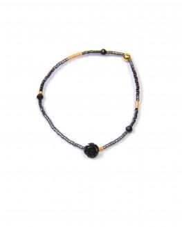 Bracelet perles cylindre rose noire - Bijoux faits main etsy Madame Vedette