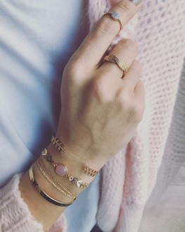 Composition bracelets jonc ouvert plaqué or laurier - Création bijoux Madame Vedette