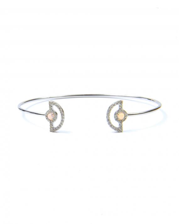 Bracelet jonc ouvert argent 925 demi lunes et brillants femme - Bijoux Madame Vedette
