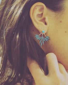 Tendance mode boucles d'oreilles or rose turquoise femme - Création bijoux Madame Vedette