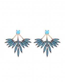 Boucles d'oreilles plaqué or rose turquoises minimale - Bijoux tendance Madame Vedette