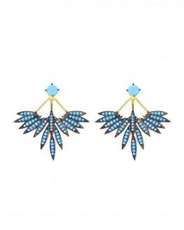 Boucles d'oreilles plaqué or turquoises création tendance - Bijoux Madame Vedette