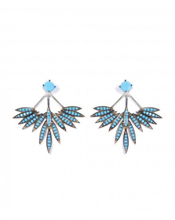 Boucles d'oreilles argent 925 turquoises femme - Bijoux créateur Madame Vedette