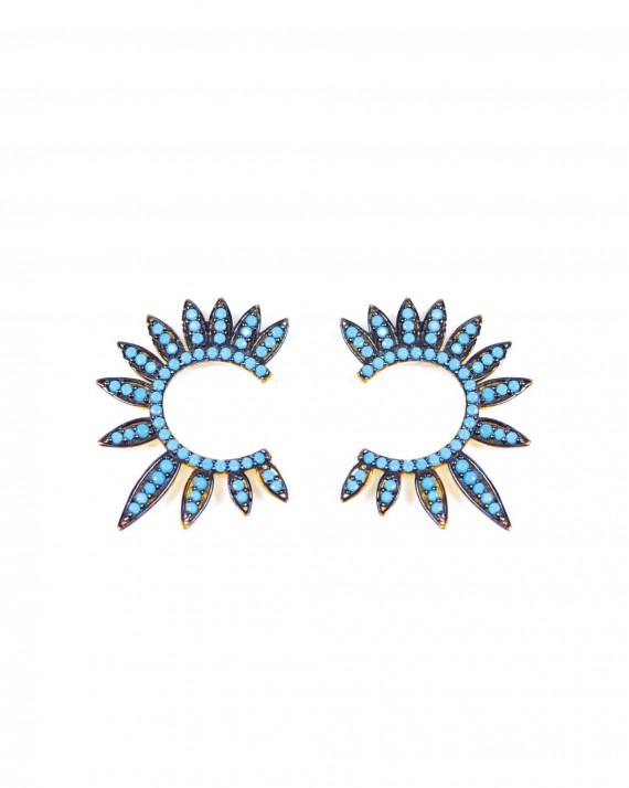 Boucles d'oreilles plaqué or turquoises femme - Bijoux créateur Madame Vedette