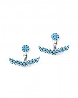 Boucles d'oreilles argent 925 ancre turquoises femme - Bijoux créateur Madame Vedette