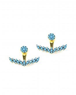 Nouveauté boucles d'oreilles plaqué or ancre turquoises femme - Bijoux créateur Madame Vedette