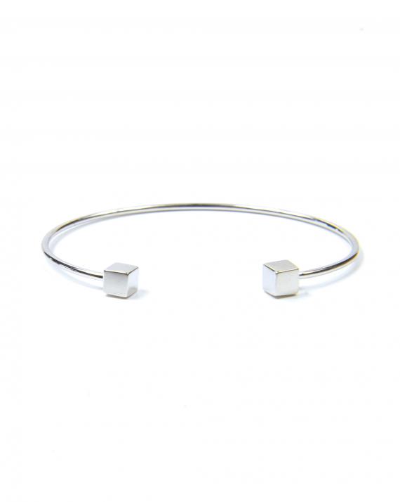 Bracelet jonc ouvert argent 925 cubes femme - Bijoux créatrice Madame Vedette