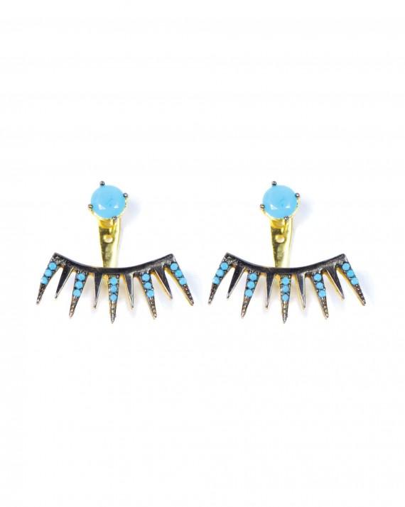 Boucles d'oreilles griffes turquoises plaqué or femme - Bijoux créateur Madame Vedette