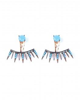 Boucles d'oreilles or rose griffes turquoises femme - Bijoux créateur Madame Vedette