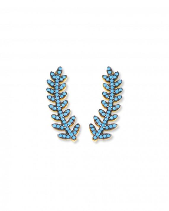 Boucles d'oreilles plaqué or palme turquoises femme - Bijoux créateur Madame Vedette