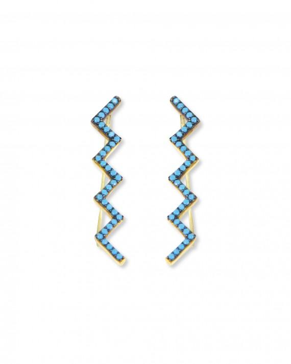 Boucles d'oreilles plaqué or zig-zag turquoises femme - Bijoux créateur Madame Vedette