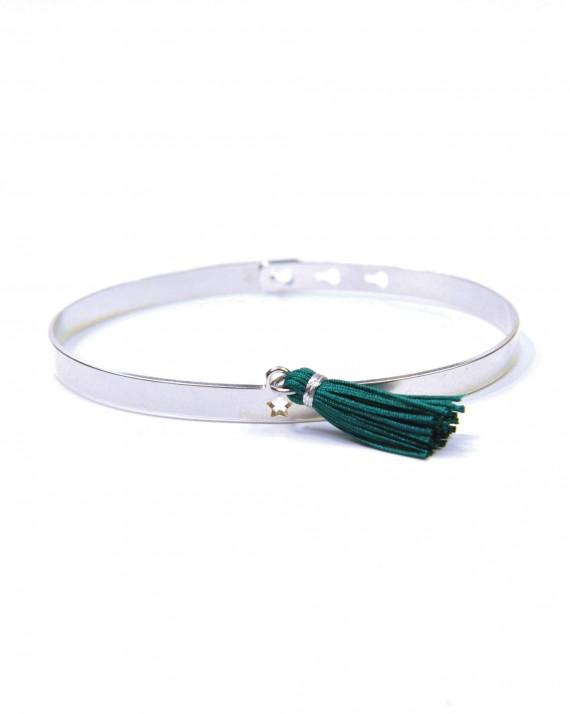 Bracelet jonc argent 925 cadenas étoile pompon femme - Bijoux créateurs x Madame Vedette