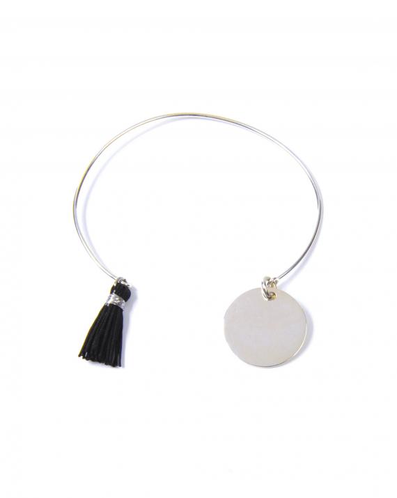 Bracelet jonc ouvert argent 925 médaille pompon - Bijoux créateur Madame Vedette