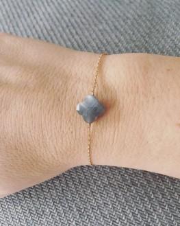 Nouveauté bracelet chaîne or rose et pierre trèfle - Bijoux femme de créateur - Madame Vedette