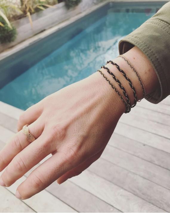 Composition bracelet chaîne cordon tressés femme - Bijoux créateur Madame Vedette