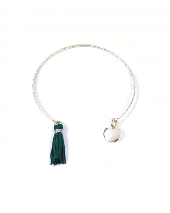 Bracelet jonc ouvert argent 925 style tressé pampille et pompon - Madame Vedette