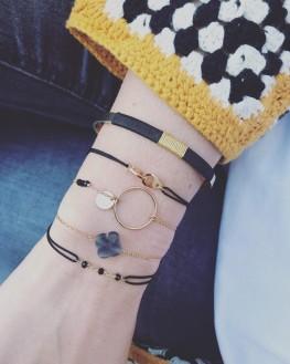 Composition bracelet cordon menottes plaqué or - Création bijoux Madame Vedette