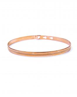 Bracelet jonc cadenas pointillés centrés plaqué or rose - Bijoux fantaisie x Madame Vedette